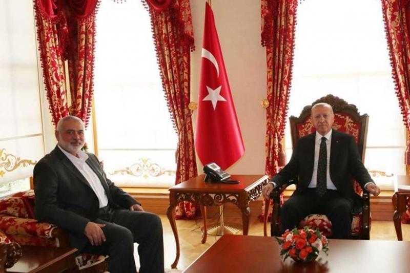 Cumhurbaşkanı Erdoğan İsmail Heniyye'yi kabul etti .