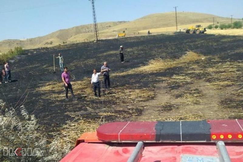 Kovancılar`da çıkan yangında 20 dönüm buğday tarlası küle döndü