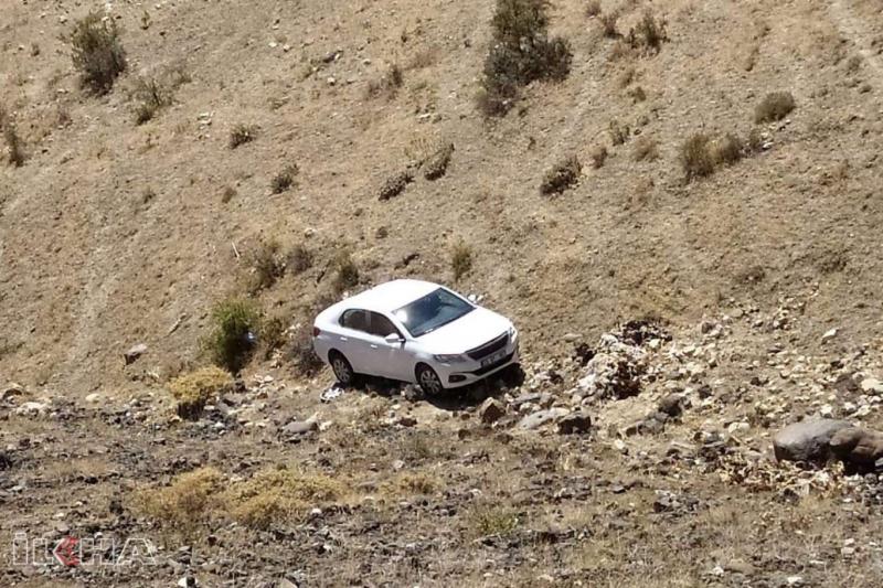 Kovancılar`da Otomobil 200 metre dereye yuvarlandı